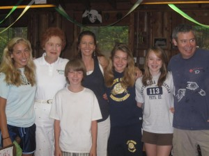 "The Bennett Family (left to right: Chelsea Gondek, Mrs. ""B."", Chase Bennett, Alyson Bennett Gondek, Savannah Gondek, Autumn Bennett and Tyran Bennett); camp directors"